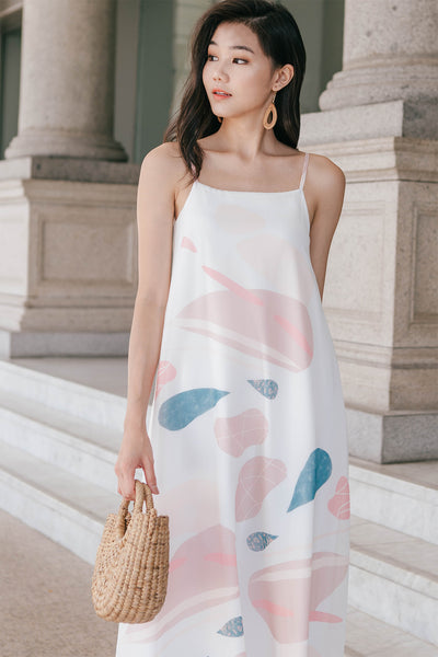 Arella Print Tent Dress (White)