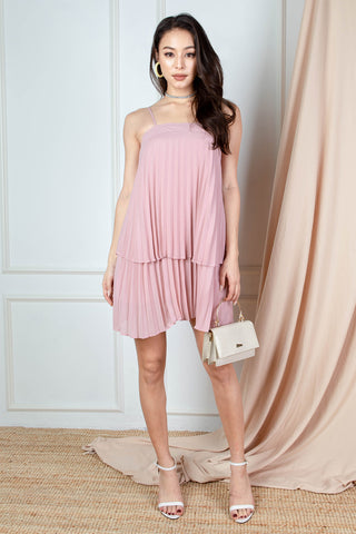 Ari Tiered Pleated Dress (Dusty Pink)