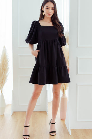 Aria Square-Neck Babydoll Dress (Black)
