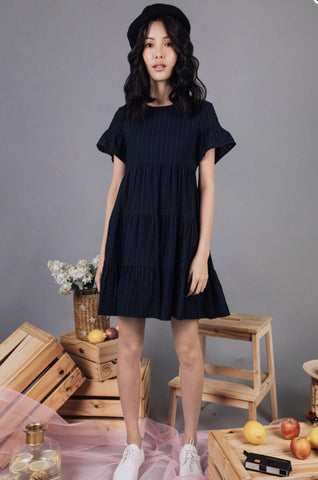 Ashton Round Neck Babydoll Dress (Navy)