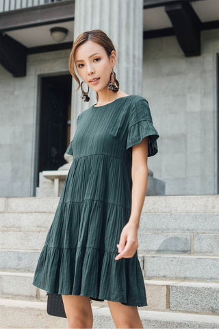 Ashton Round Neck Babydoll Dress (Green)