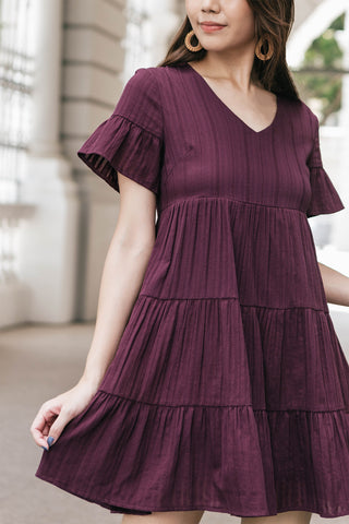 Ashton V-neck Babydoll Dress (Mulberry)