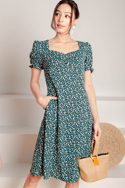 Atelier Sweetheart Slit Midi Dress (Forest)