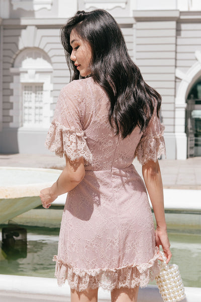 Aurora Lace Overlay Dress (Dusty Pink)