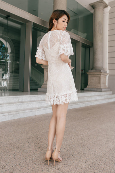 Aurora Lace Overlay Dress (White)