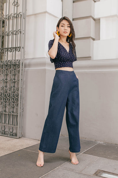 Raegan Denim Wide Leg Pants (Blue)