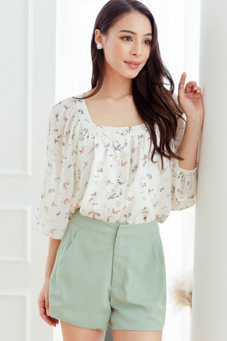 Averi Floral Swing Top (Vanilla)