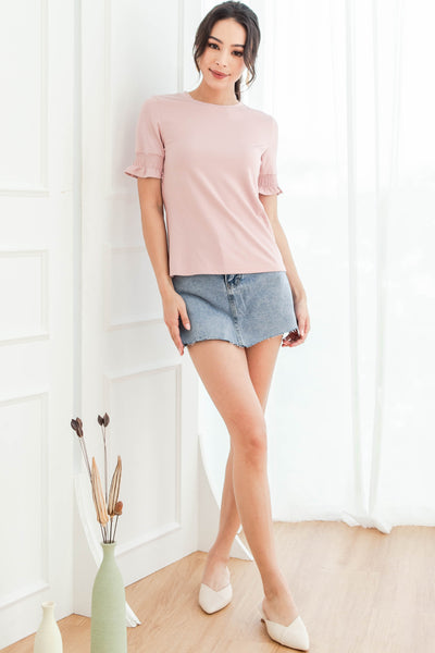 Baylene Fluted Sleeve Top (Dusty Pink)