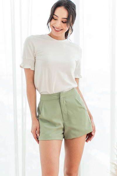 Baylene Fluted Sleeve Top (White)