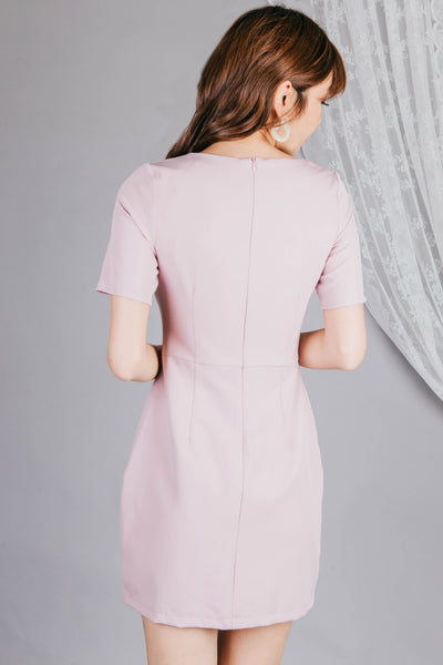 Berlin Button Dress (Dusty Pink)