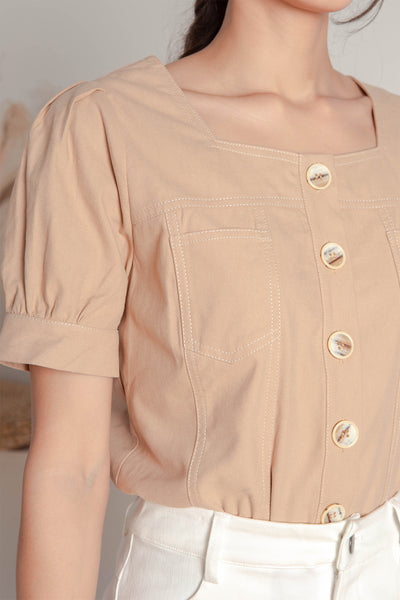 Bev Contrast Stitch Top (Latte)