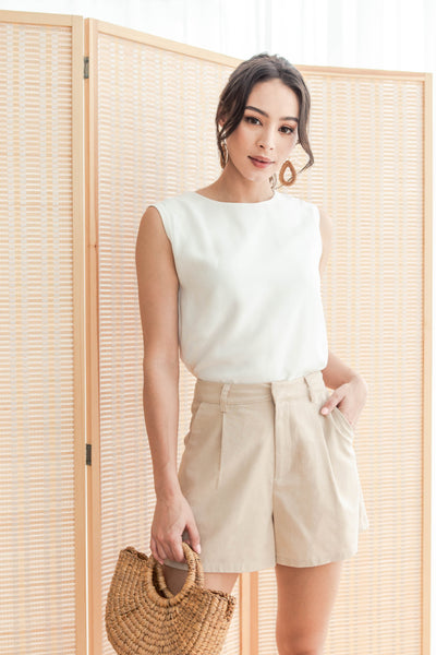 Blanche Belted Top (White)