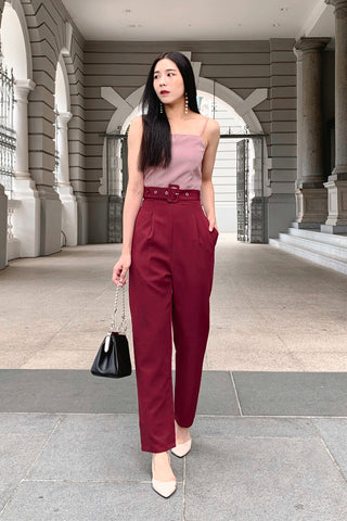Cara Colourblock Jumpsuit (Wine)