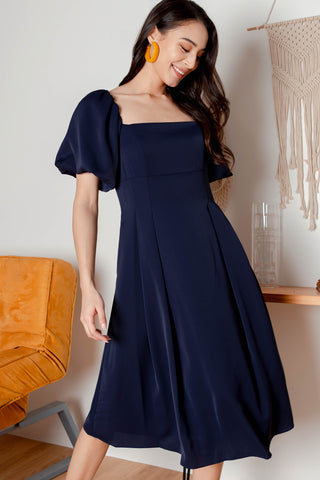 Codette Wide-neck Midi Dress (Navy) - M