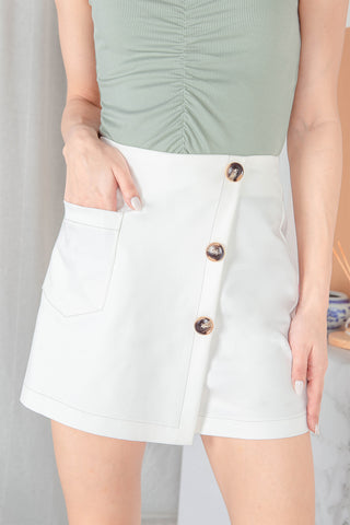 Cole Wrap Button Skorts (White)
