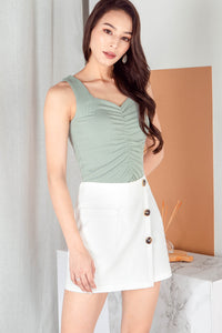 Dacia Ruched Knit Top (Seafoam)