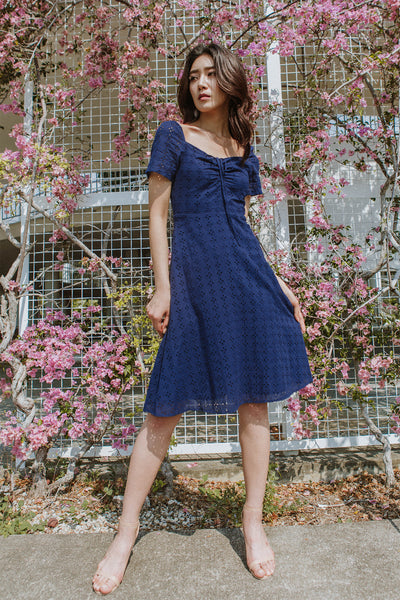 Danica Two-way Eyelet Dress (Navy)