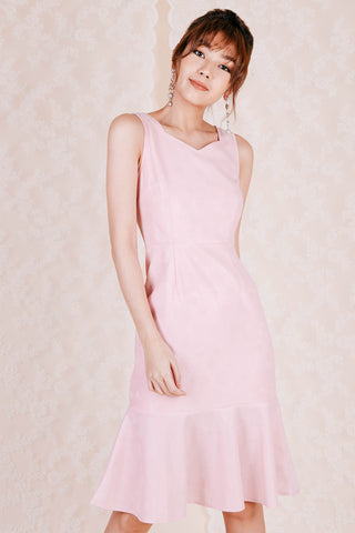 Darcy Lace Embossed Midi Dress (Pink)