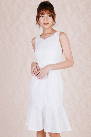 Darcy Lace Embossed Midi Dress (White)