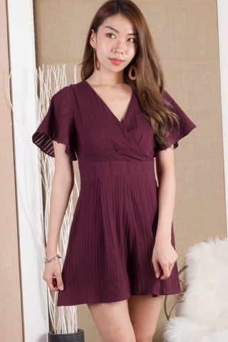 Dawnelle Fluted Sleeve Romper (Mulberry)