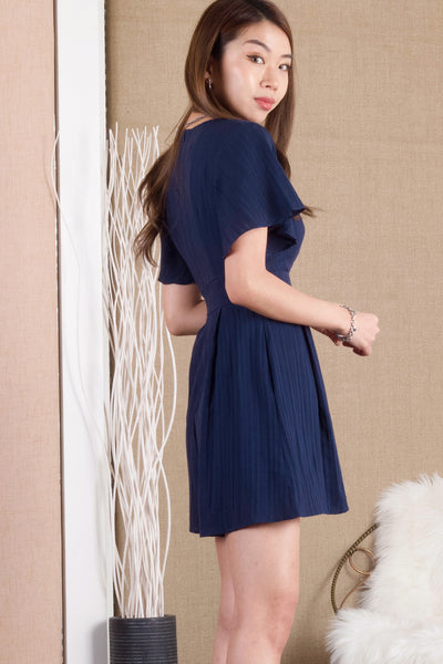 Dawnelle Fluted Sleeve Romper (Navy)