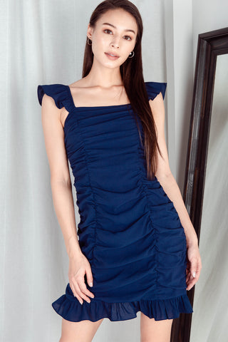 Dolce Ruched Flutter Sleeve Dress (Navy)