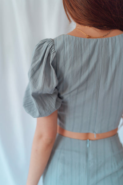 Edith Co-ord Top (Dusty Blue) - M