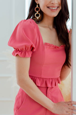 Eleanor Ruffle Top (French Rose)