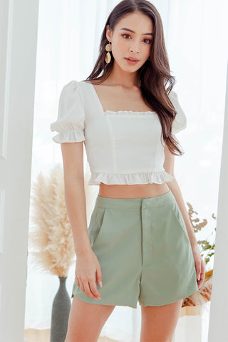Backorder* Eleanor Ruffle Top (White) XS/S