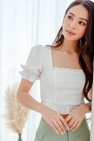 Eleanor Ruffle Top (White)
