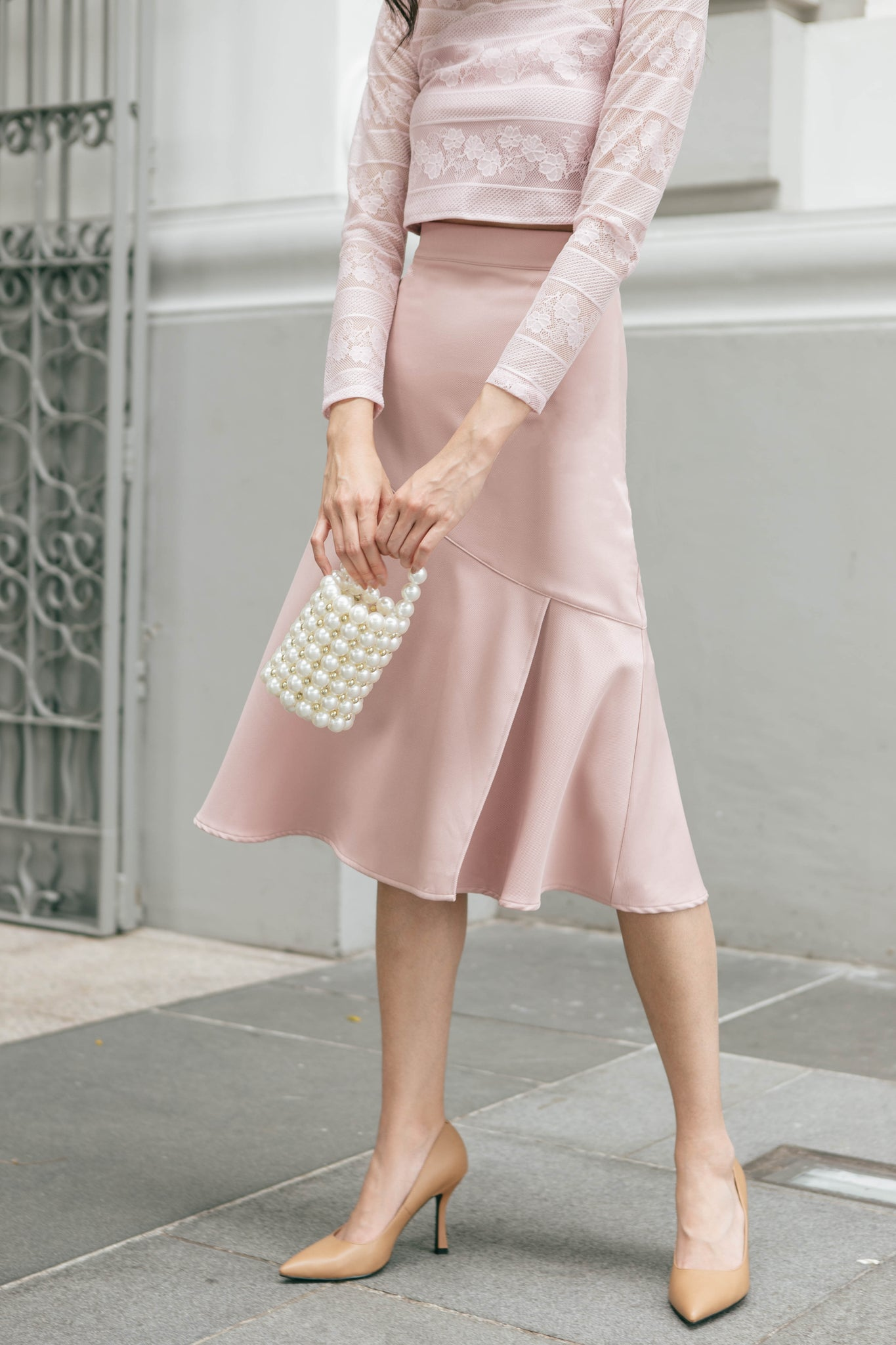Ellerie Midi Skirt (Blush)