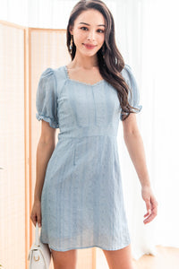 Heather Embroidered Sweetheart Dress (Blue)