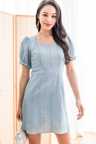Heather Embroidered Sweetheart Dress (Blue) - XS