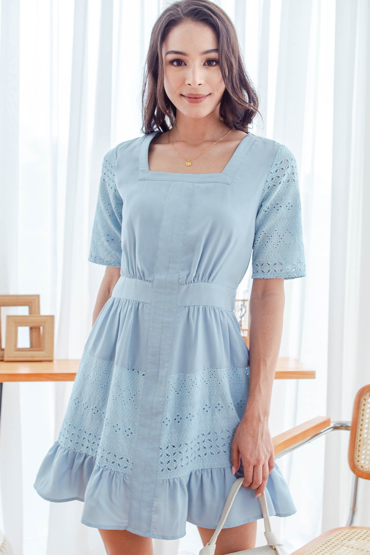 Emery Crochet Square Neck Dress (Blue)