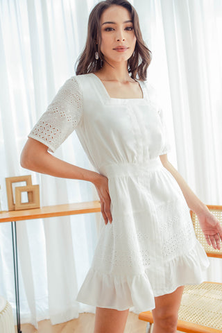 Emery Crochet Square Neck Dress (White)