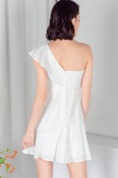 Fayette Crochet One-Shoulder Dress (White) - M/L