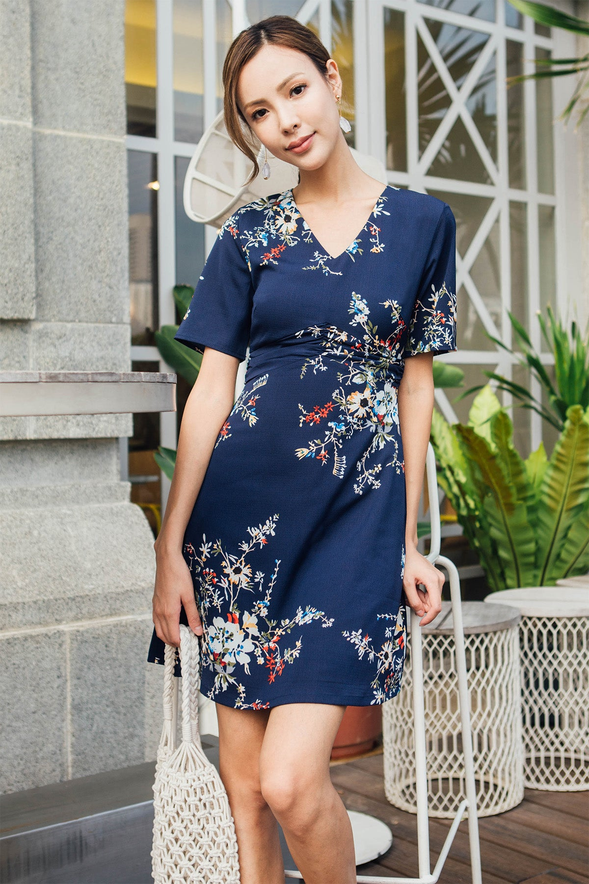 Oriana Floral Pleated Dress (Navy Blue)