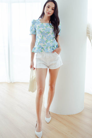 Gabriella Floral Fluted Top (Blue)