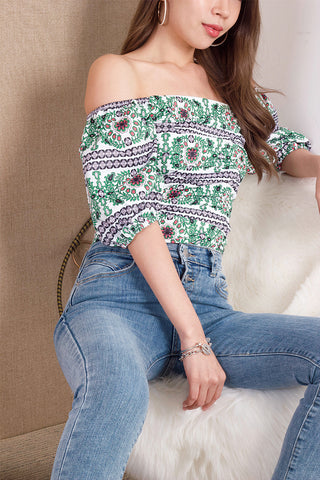 Halsey Ruched Off-shoulder Top (Green)