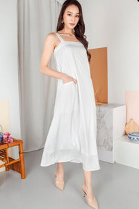 Harmoni Pocket Maxi Dress (White)