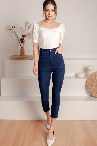 Hathaway High-waisted Jeans (Dark-wash)
