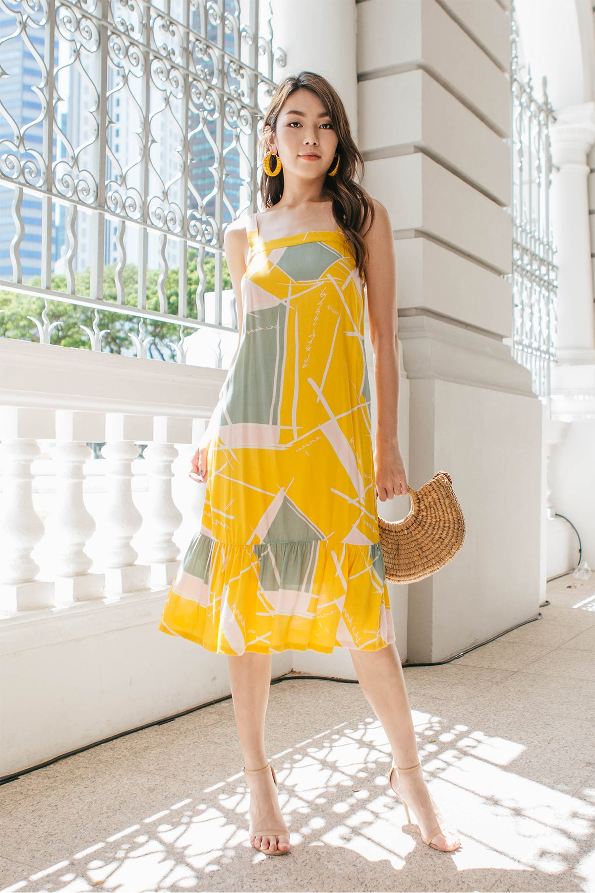 Jann Abstract Fluted Midi Dress (Yellow)
