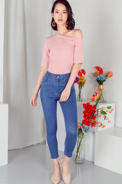 Judith One Shoulder Top (Dusty Pink) - M