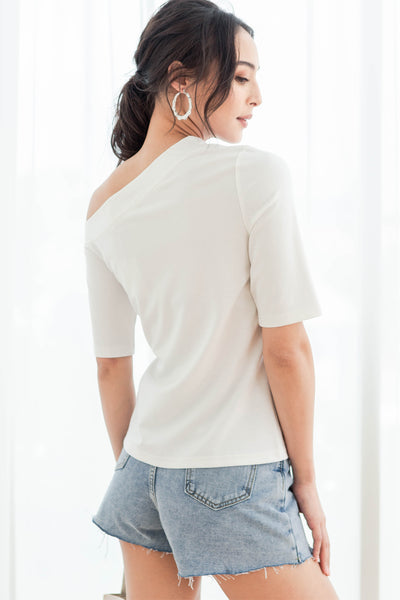 Judith One-shoulder Top (White)