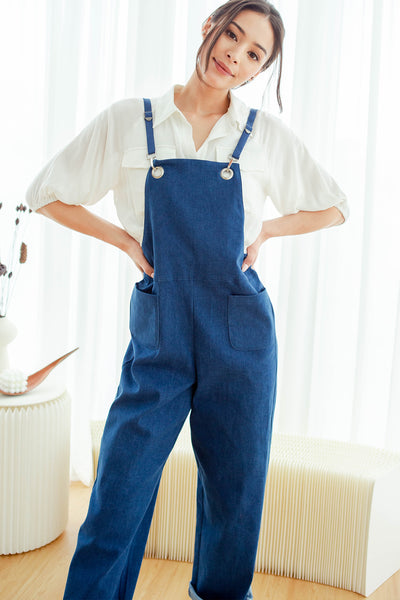 Karter Denim Jumpsuit (Mid-wash)