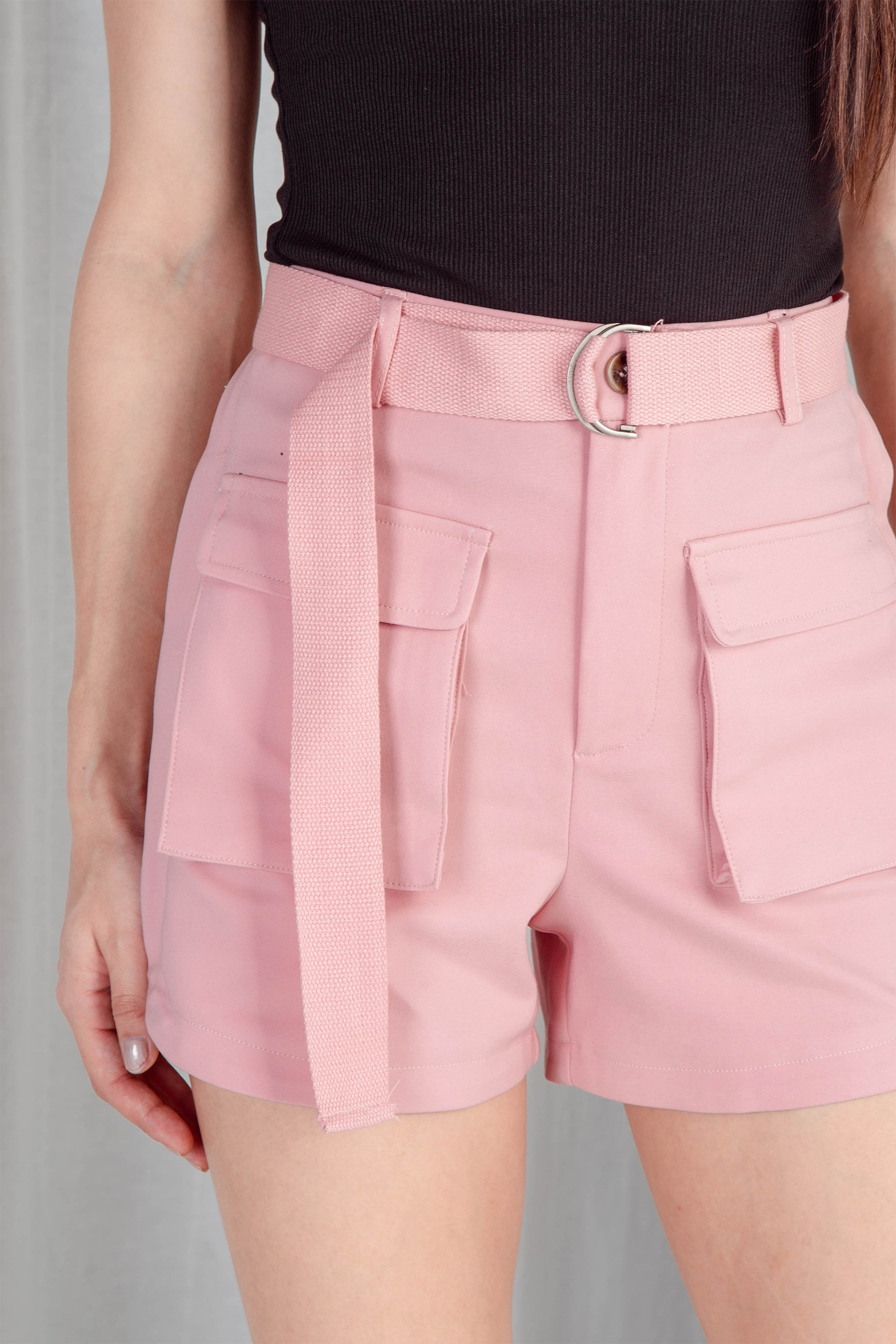 Kendall Belted Utility Shorts (Bubblegum)