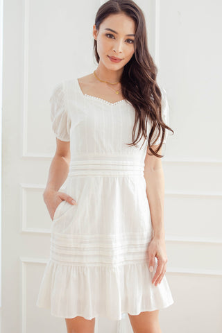 Lavina Embroidered Fluted Dress (White)