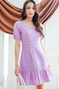 Lavina Embroidered Fluted Dress (Wisteria)