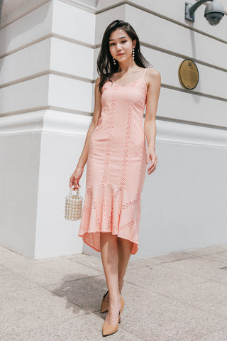 Layla Crochet Midi Dress (Rose)