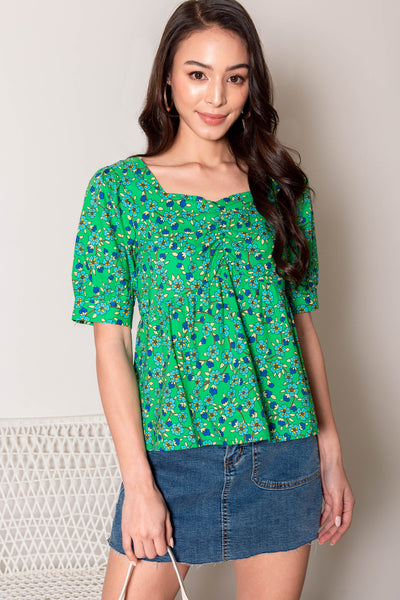 Leanne Floral Babydoll Top (Forest)